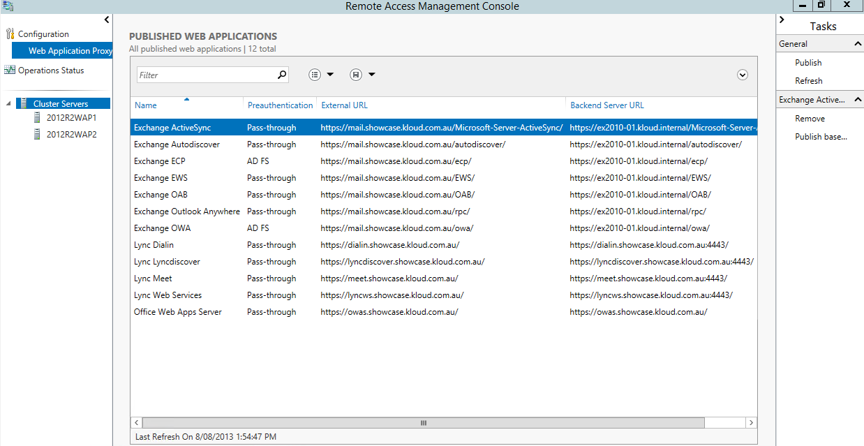 WAP Exchange and Lync Applications